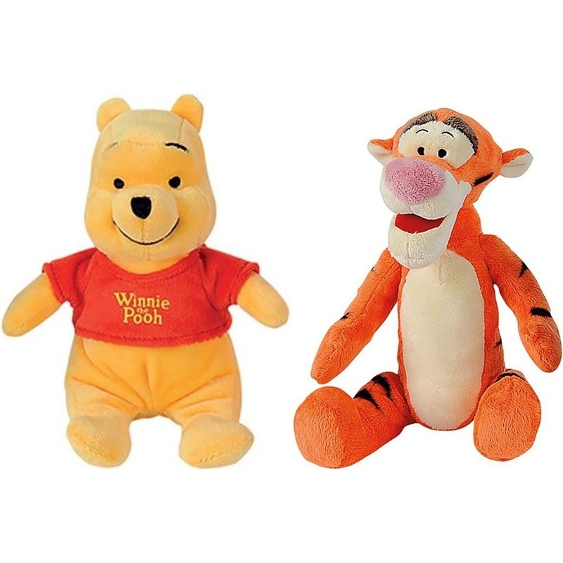 Afbeelding: 2x Beren/tijgers speelgoed artikelen Disney Winnie de Poeh en Teigetje knuffelbeest 19 cm