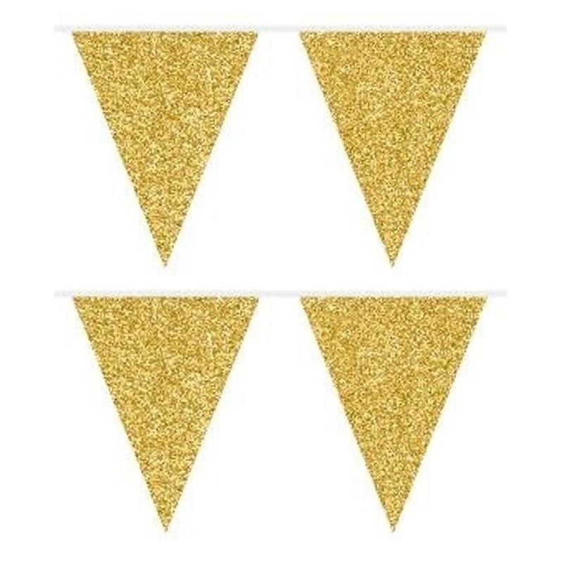 2x Gouden glitter vlaggenlijnen 6 meter