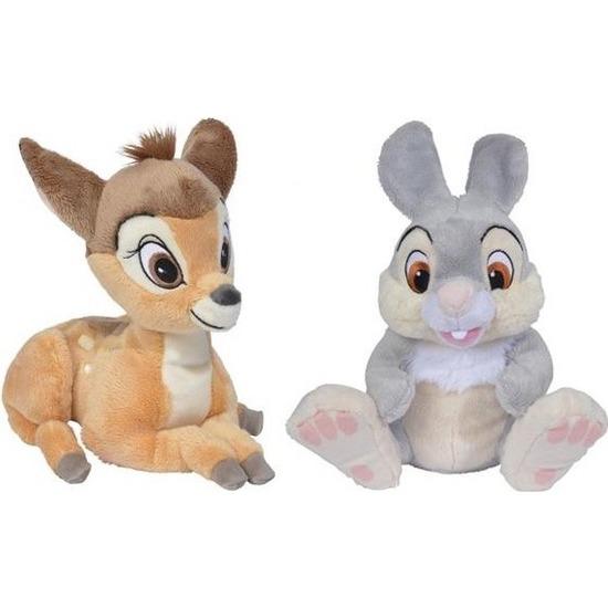 2x Herten/konijnen speelgoed artikelen Disney Bambi en Stampertje knuffelbeest bruin 24 cm