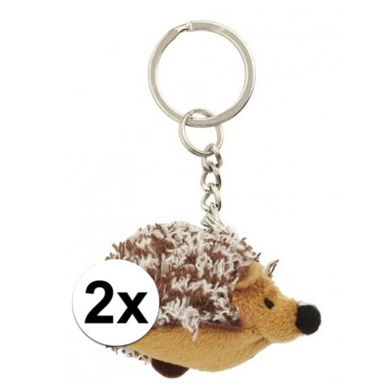 2x Kleine egel sleutelhangers 6 cm
