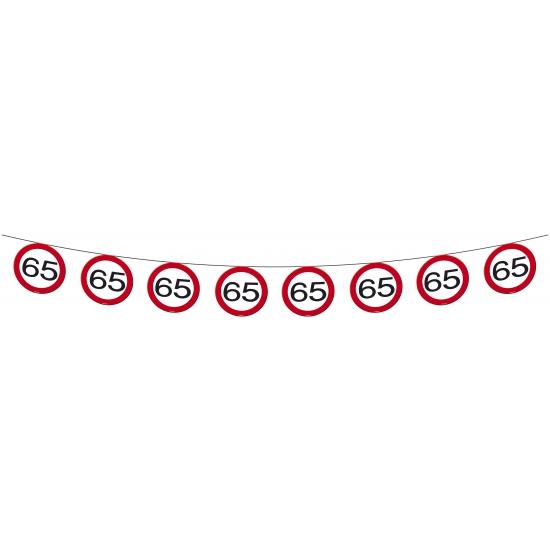 2x Vlaggenlijn versiering 65 jaar verkeersborden 10 meter