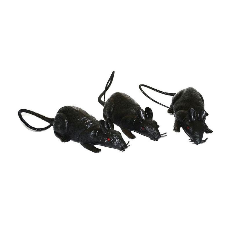 Een set van 3 grote ratten met rode ogen, gemaakt van plastic. lengte: incl. staart ca. 43 cm, excl. staart ...
