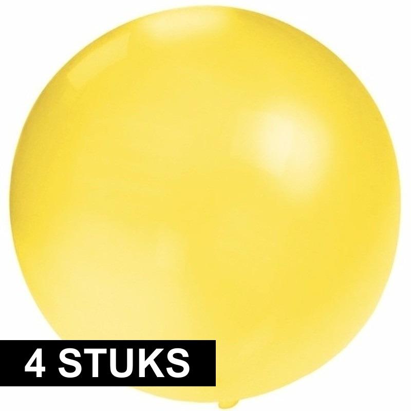 4x grote ballonnen 60 cm geel. gele latex ballon met een diameter van maar liefst 60 cm wanneer deze ...
