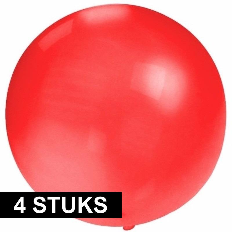 4x grote ballonnen 60 cm rood. rode latex ballon met een diameter van maar liefst 60 cm wanneer deze ...