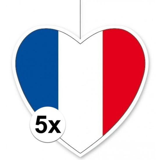 5x Frankrijk hangdecoratie harten 28 cm