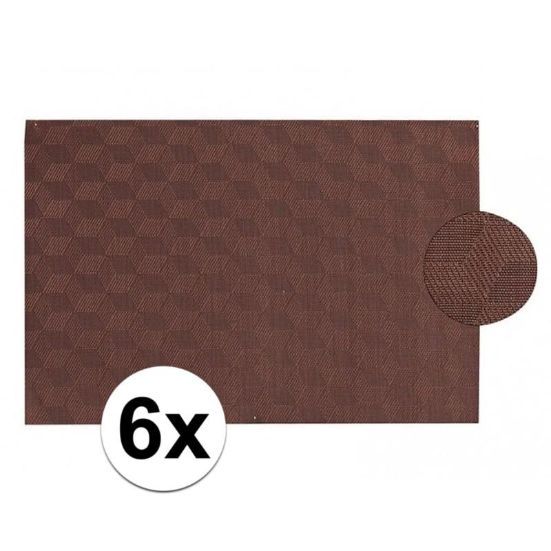 6x Kunststof onderlegger donkerbruin 45 x 30 cm