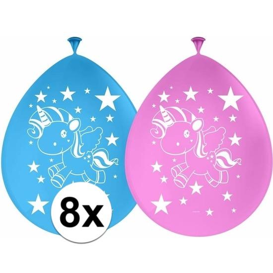 8x Eenhoorn themafeest ballonnen 30 cm