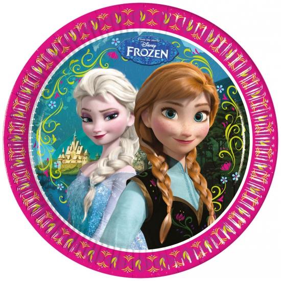 8x stuks Frozen thema party bordjes 23 cm
