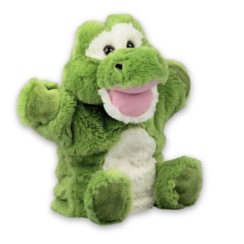 Alligator speelgoed artikelen krokodil handpop knuffelbeest groen 22 cm