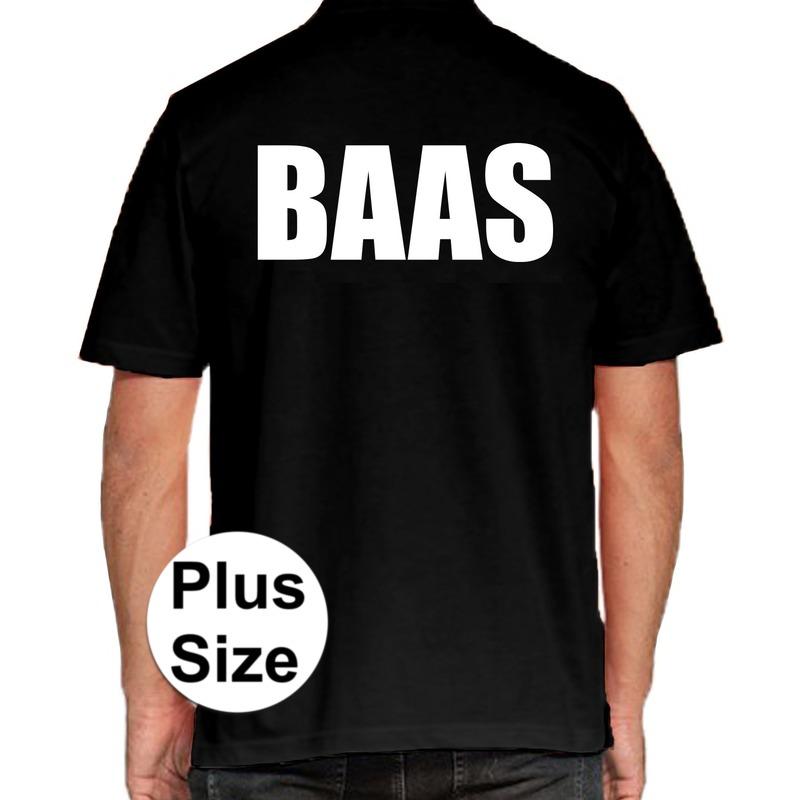 Baas grote maten poloshirt zwart voor heren. dit zwarte plus size polo t shirt is eenzijdig aan de achterkant ...