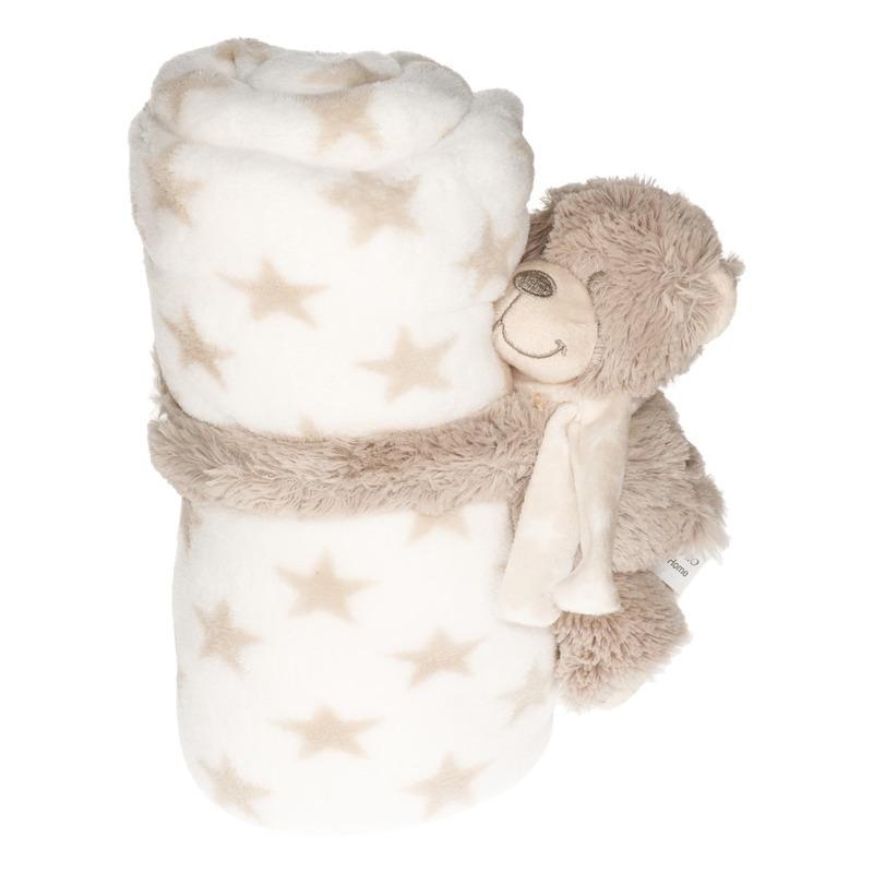 Baby/kinder wit dekentje met knuffelbeer