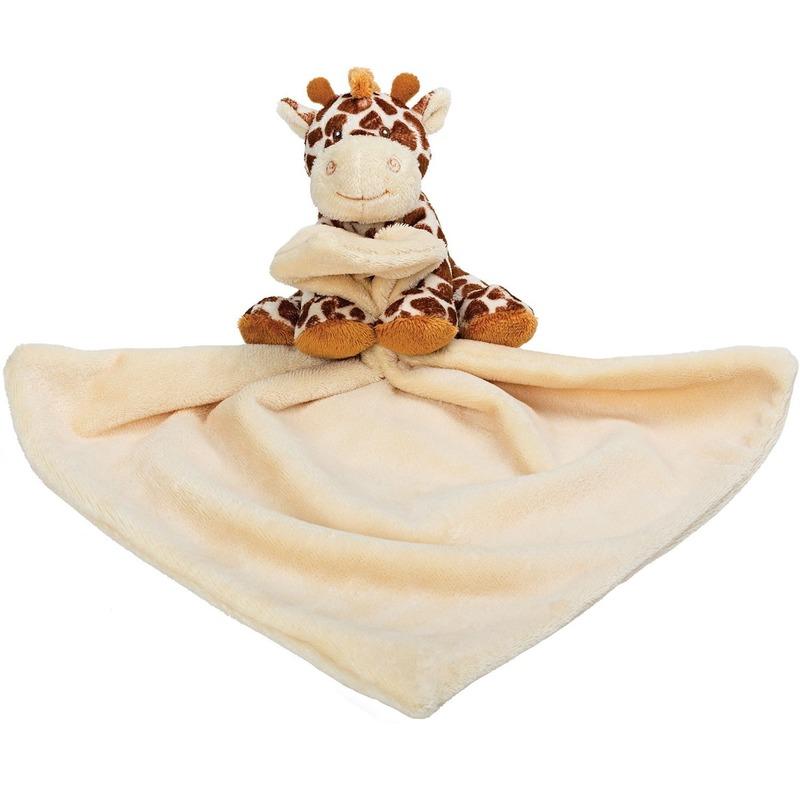 Baby speelgoed artikelen giraffe tuttel/knuffeldoek knuffelbeest bruin 30 cm