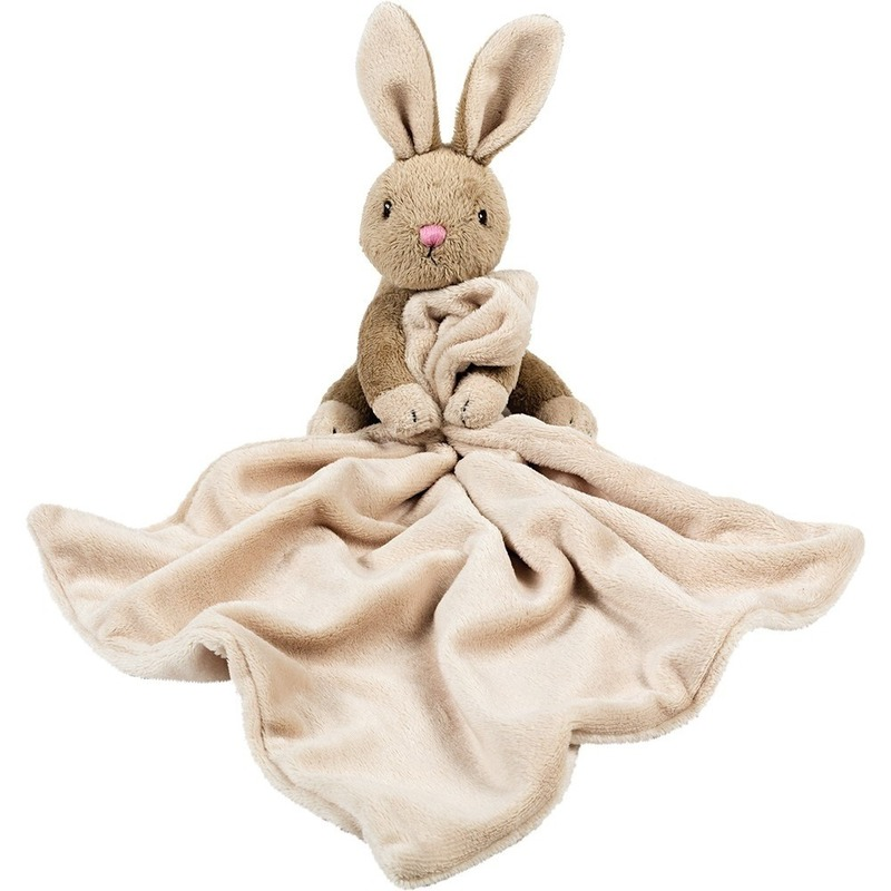 Baby speelgoed artikelen konijn/haas tuttel/knuffeldoek knuffelbeest bruin 30 cm