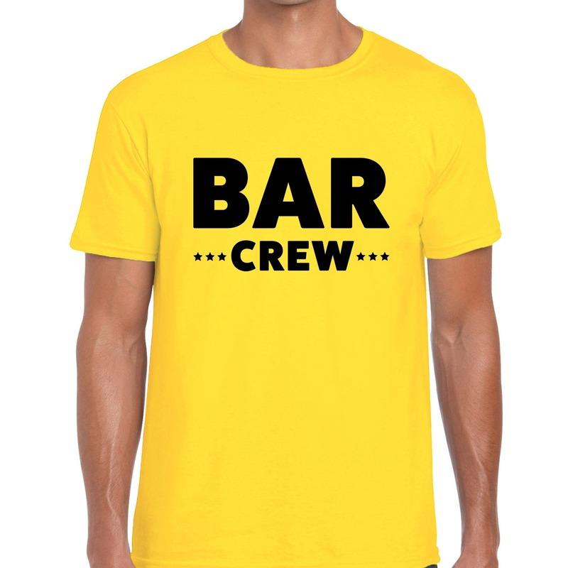 Bar crew - personeel tekst t-shirt geel heren