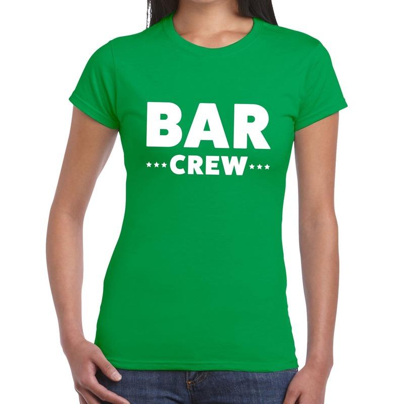 Bar Crew - personeel tekst t-shirt groen dames