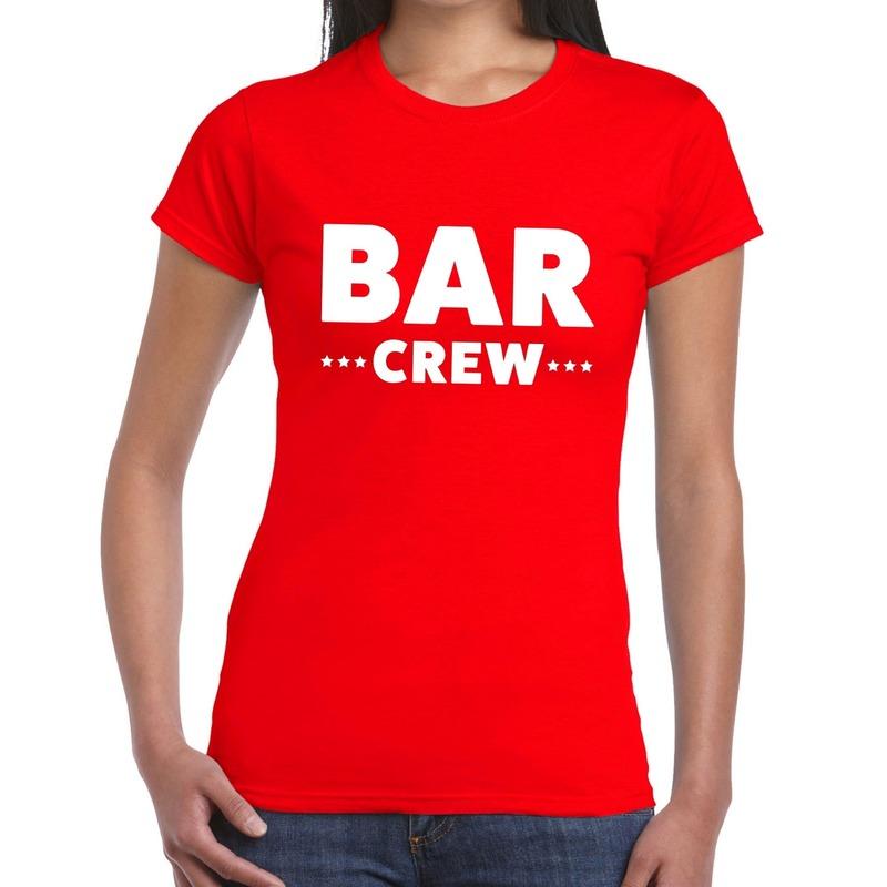 Bar Crew - personeel tekst t-shirt rood dames