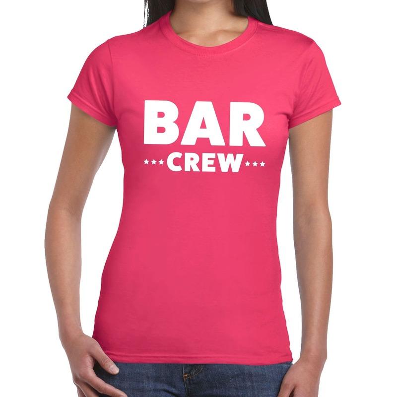 Bar Crew - personeel tekst t-shirt roze dames