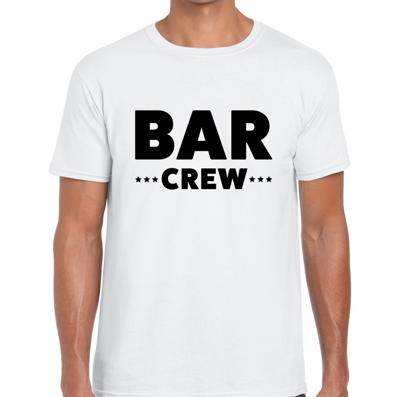 Bar crew - personeel tekst t-shirt wit heren