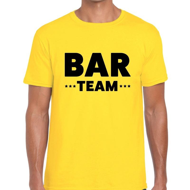 Bar team - personeel tekst t-shirt geel heren
