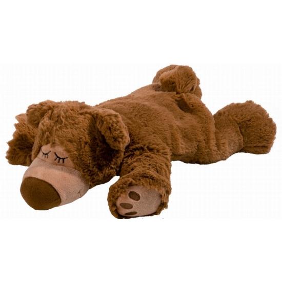 Beren speelgoed artikelen opwarmbare beer knuffelbeest bruin 32 cm