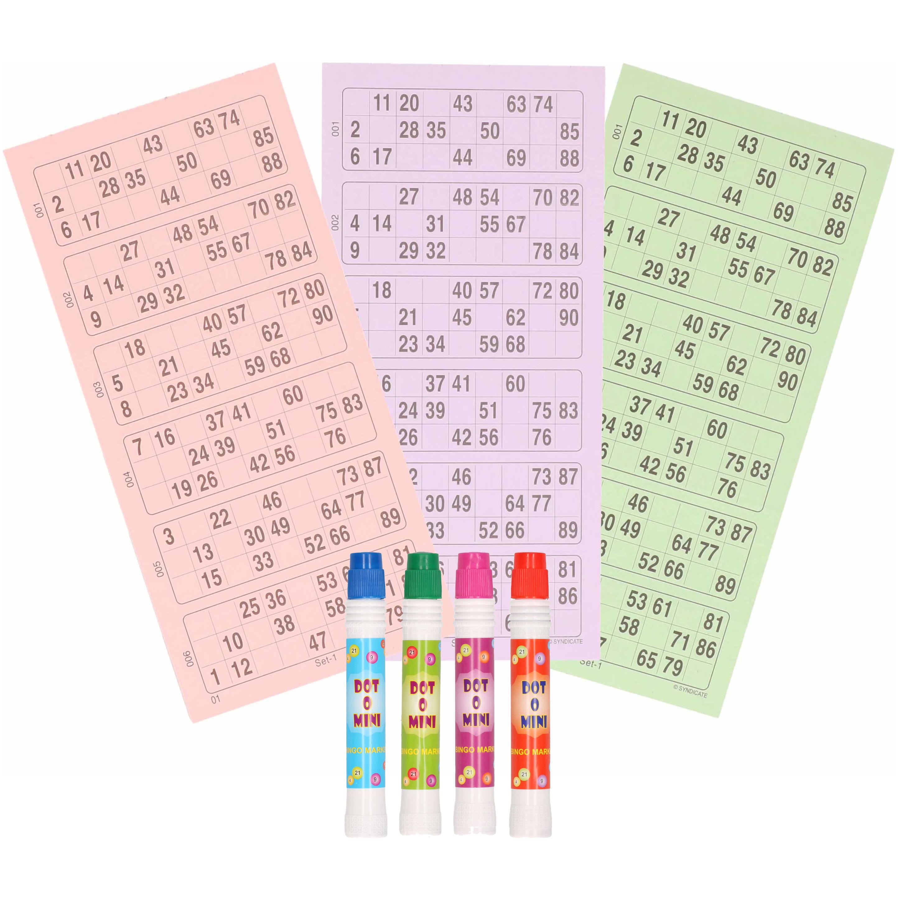 Bingo spel accessoires set nummers 1-90/100x bingokaarten/4x bingostiften