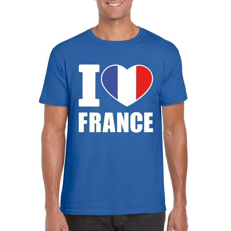 Blauw I love Frankrijk fan shirt heren