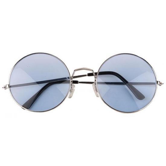 Blauwe xl hippie bril met extra grote glazen. deze flower power bril heeft een zilverkleurig frame en blauwe ...