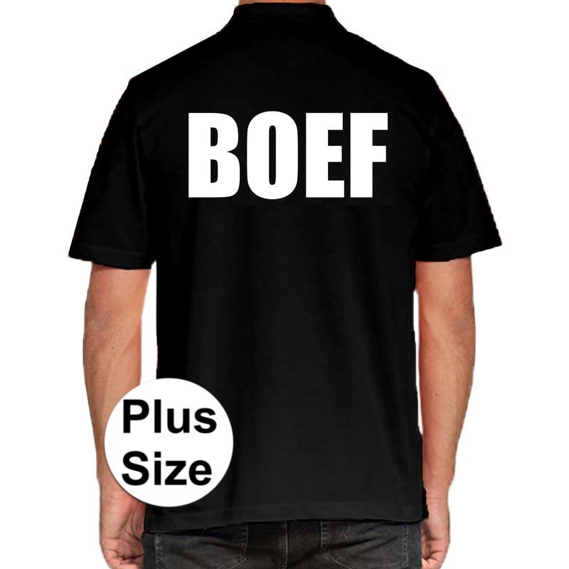 Boef grote maten poloshirt zwart voor heren. dit zwarte plus size polo t shirt is eenzijdig aan de achterkant ...
