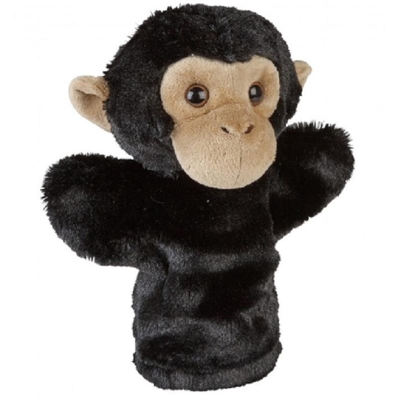 Chimpansee aapjespeelgoed artikelen chimpansee aap handpop knuffelbeest zwart 26 cm