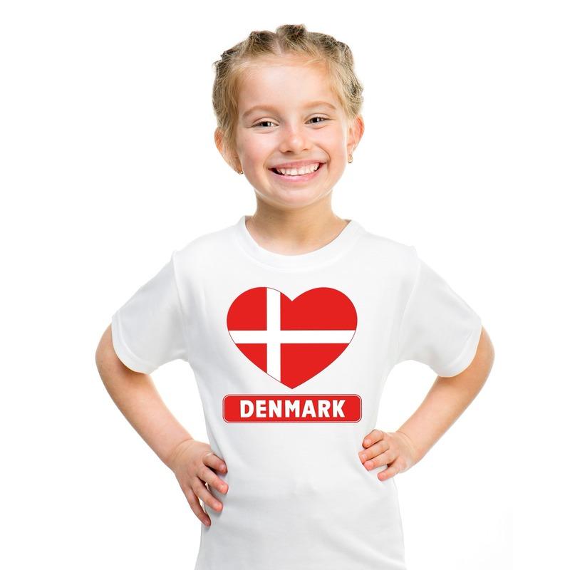 Denemarken hart vlag t-shirt wit jongens en meisjes