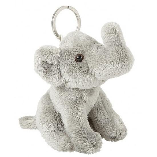 Dierentuindieren sleutelhangers olifanten pluche grijs