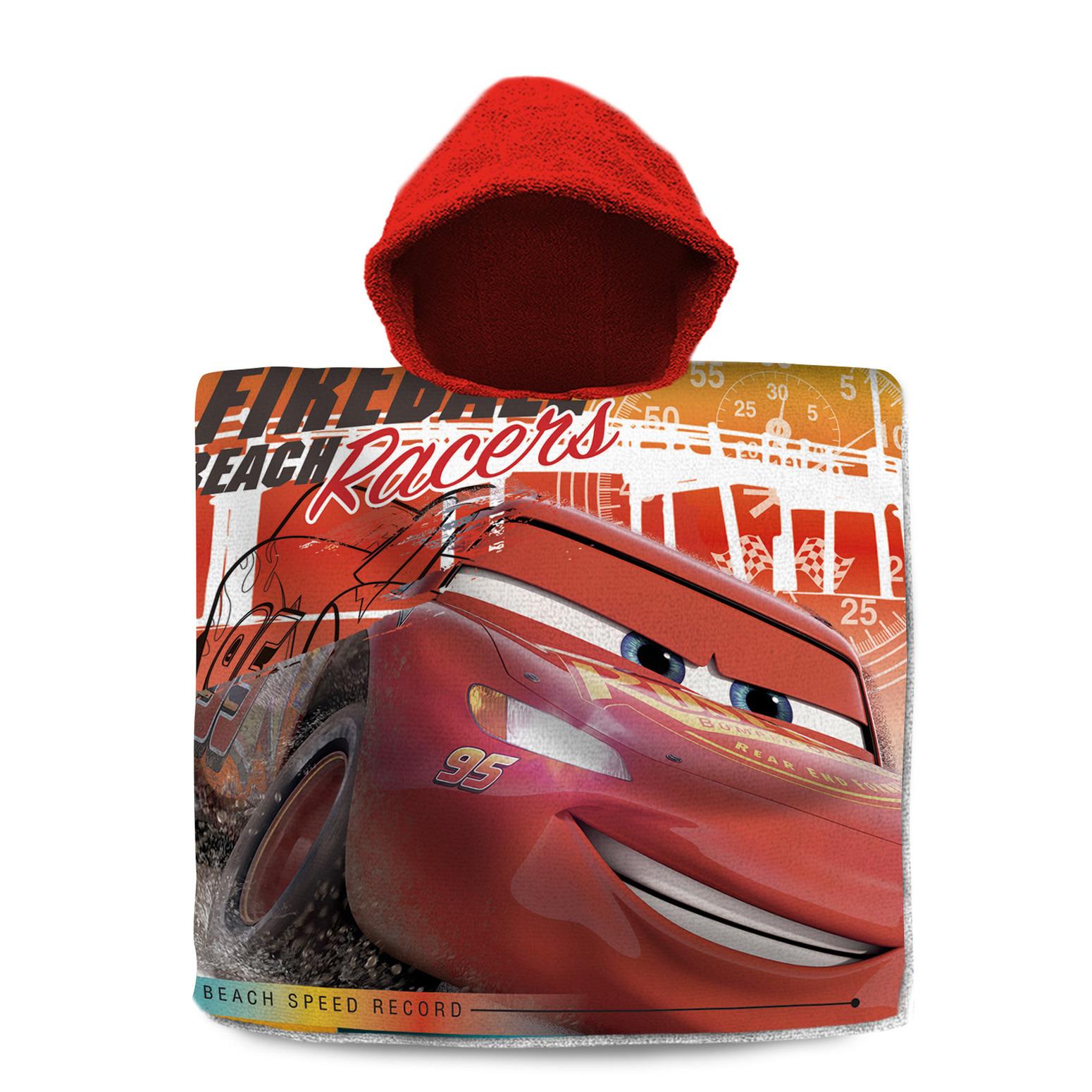 Disney Cars badcape/poncho met rode capuchon voor kinderen