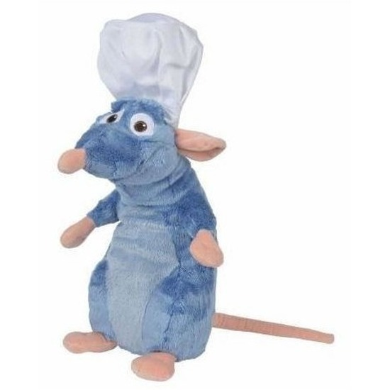 Disney pluche rat knuffel Remy Ratatouille met koksmuts 43 cm