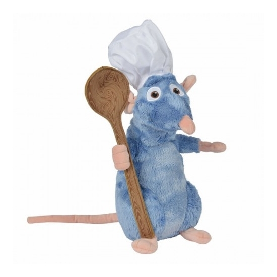 Disney pluche rat knuffel Remy Ratatouille met lepel 25 cm