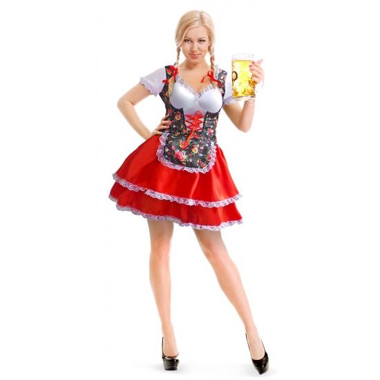 da7ecaba0879e0 Tiroler dirndl jurk met bloemen. dit tiroler jurkje voor dames heeft een  rode rok