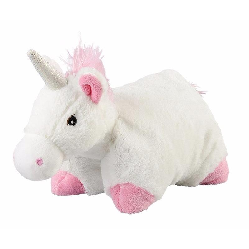 Eenhoornen speelgoed artikelen opwarmbare eenhoorn knuffelbeest wit 25x25 cm