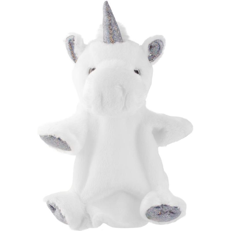 Eenhoorns speelgoed artikelen eenhoorn handpop knuffelbeest wit/zilver 25 cm
