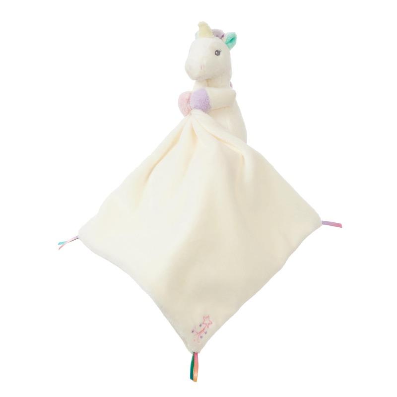 Eenhoorns speelgoed artikelen eenhoorn tuttel/knuffeldoek knuffelbeest wit 26 cm
