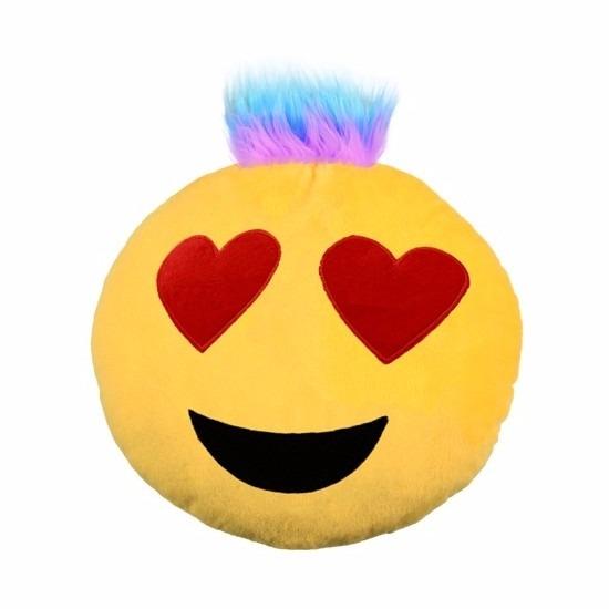 Emoji punk kussen hartjes ogen 35 cm