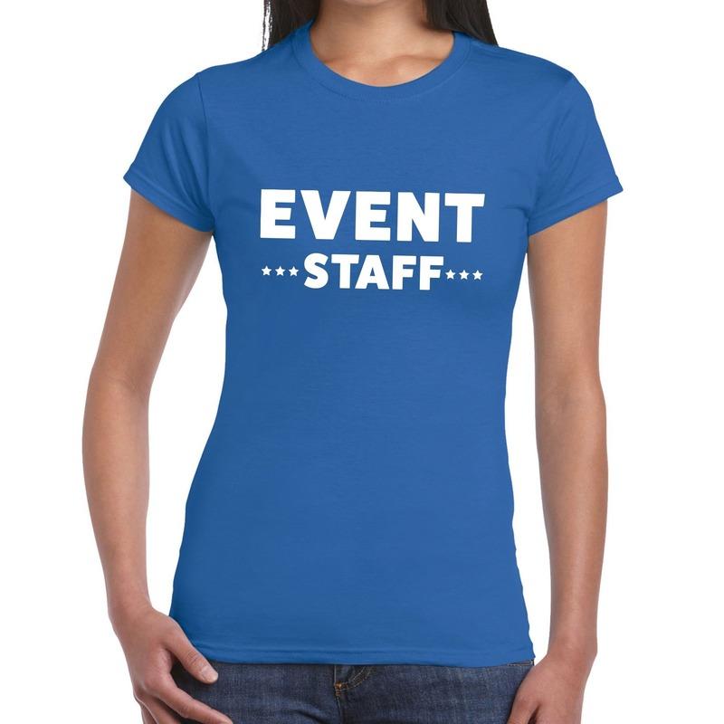 Event staff - personeel tekst t-shirt blauw dames