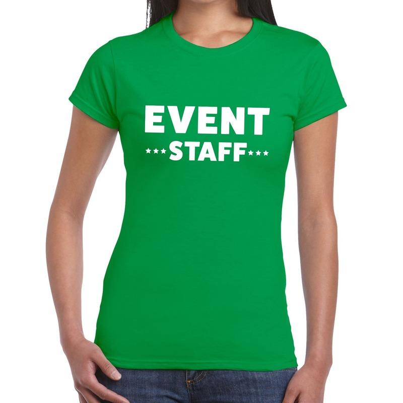 Event staff - personeel tekst t-shirt groen dames