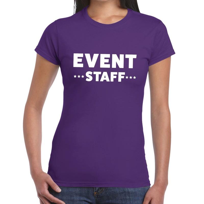 Event staff - personeel tekst t-shirt paars dames