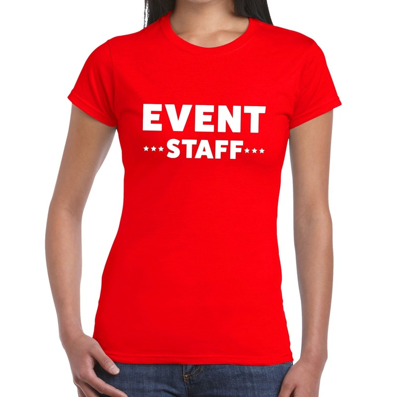 Event staff - personeel tekst t-shirt rood dames