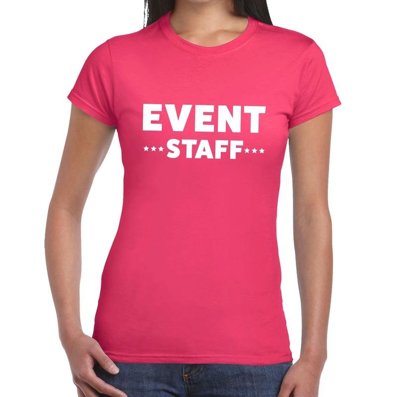 Event staff - personeel tekst t-shirt roze dames