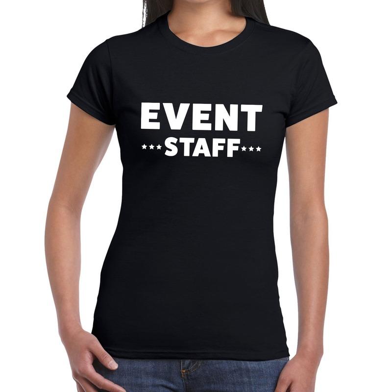 Event staff - personeel tekst t-shirt zwart dames