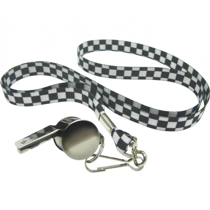 Fluitje aan ketting zwart/wit