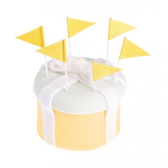 Gele cocktailprikkers 25 stuks