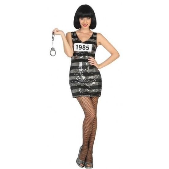 0d503756799735 Gevangene boeven ann verkleed kostuum jurk zwart zilver voor dames budget  line.