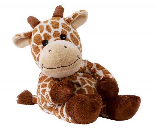 Giraffes speelgoed artikelen opwarmbare giraf knuffelbeest bruin 35 cm