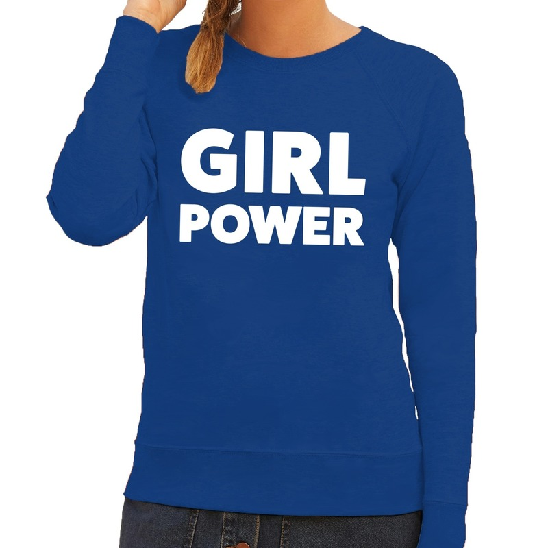 Girl Power tekst sweater blauw voor dames